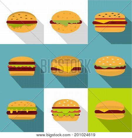 Cheeseburger icons set. Flat set of 9 cheeseburger vector icons for web with long shadow