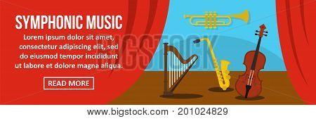 Symphonic music banner horizontal concept. Flat illustration of symphonic music banner horizontal vector concept for web