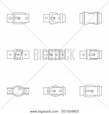Belt buckle icon set. Outline set of 9 belt buckle vector icons for web isolated on white background