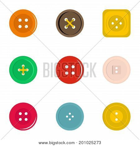 Clothes button icon set. Flat set of 9 clothes button vector icons for web isolated on white background