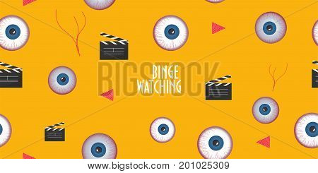 Seamless pattern to promote Binge Watching or marathon viewing. Watching multiple episodes of tv show movies or series in rapid succession by means of digital streaming or on demand or subscription.