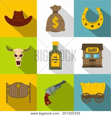 Cowboy equipment icons set. Flat set of 9 cowboy equipment vector icons for web with long shadow