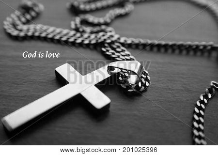 Catholic Cross In Black & White With