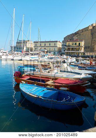 Fishing Boats Moored In Borgo Marinari Harbor. Naples, Italy.