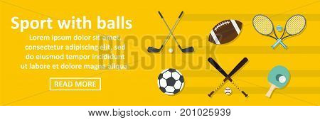 Sport with balls banner horizontal concept. Flat illustration of sport with balls banner horizontal vector concept for web