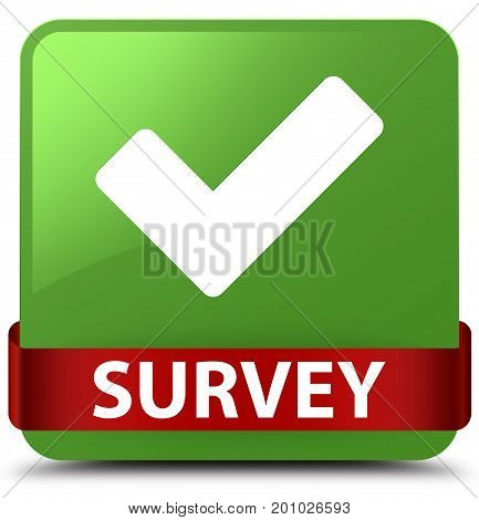 Survey (validate Icon) Soft Green Square Button Red Ribbon In Middle