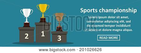 Sports championship banner horizontal concept. Flat illustration of sports championship banner horizontal vector concept for web