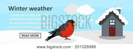 Winter weather banner horizontal concept. Flat illustration of winter weather banner horizontal vector concept for web