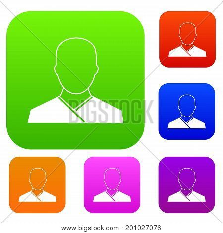Buddhist monk set icon in different colors isolated vector illustration. Premium collection