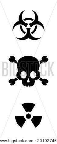 Vector biohazard and radioactive warning signs isolated
