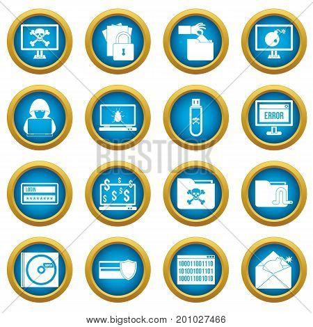 Criminal activity icons blue circle set isolated on white for digital marketing