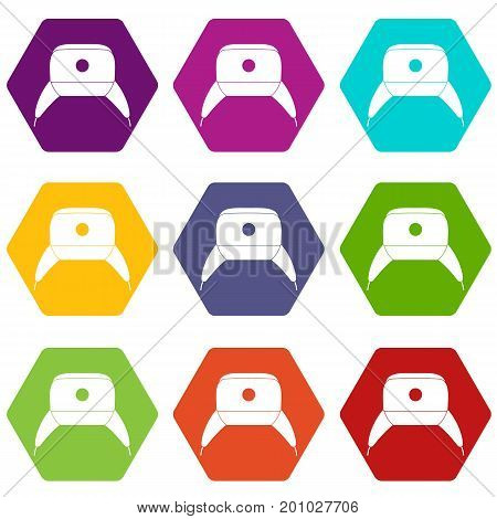Earflap hat icon set many color hexahedron isolated on white vector illustration