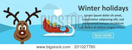 Winter holidays banner horizontal concept. Flat illustration of winter holidays banner horizontal vector concept for web