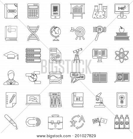 Dictionary icons set. Outline style of 36 dictionary vector icons for web isolated on white background