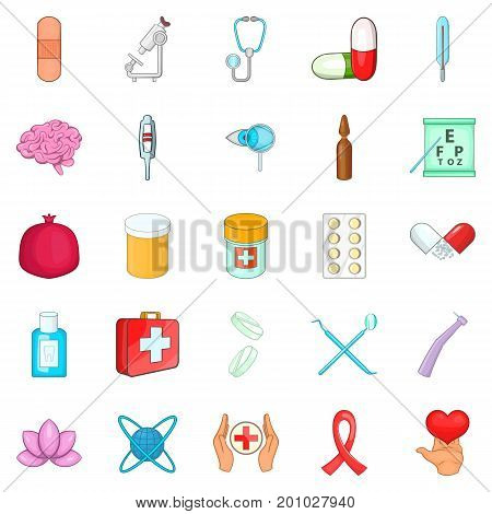 Nursing care icons set. Cartoon set of 25 nursing care vector icons for web isolated on white background