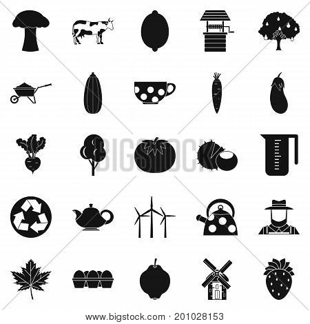 Grown food icons set. Simple set of 25 grown food vector icons for web isolated on white background