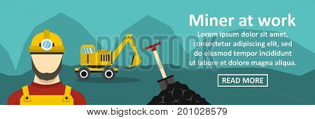 Miner at work banner horizontal concept. Flat illustration of miner at work banner horizontal vector concept for web