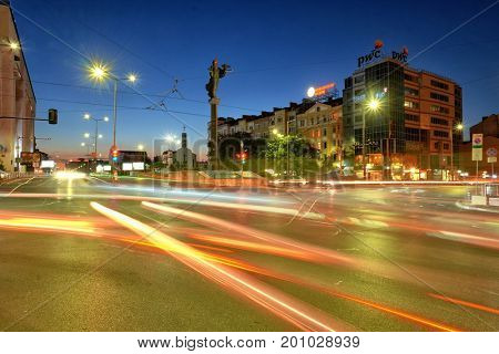 SOFIA, BULGARIA - AUGUST 01, 2017: monument of Saint Sophia and cars light trails on the crossroad in Sofia downtown at the twilight
