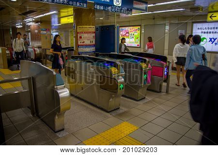 TOKYO, JAPAN -28 JUN 2017: Japan Railways. It's very convenient way for visitors to travel around Japan located in Tokyio, Japan.