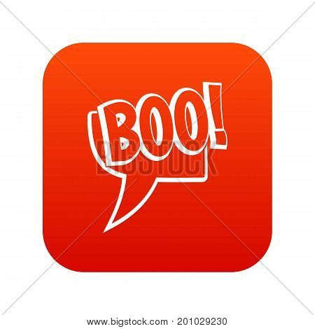 BOO, comic text speech bubble icon digital red for any design isolated on white vector illustration