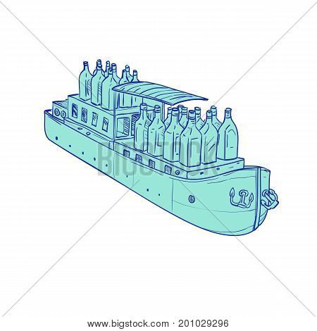 Illustration of Gin Bottles on flat bottomed Barge Boat set on isolated background done in hand sketch Drawing style.