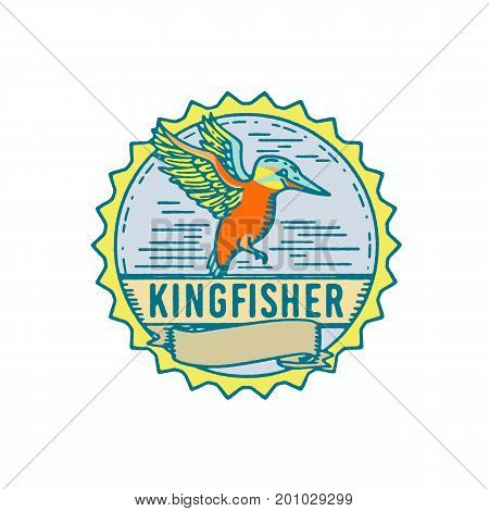 Illustration of a Kingfisher flying viewed from Side with scroll set inside Rosette shape and word text