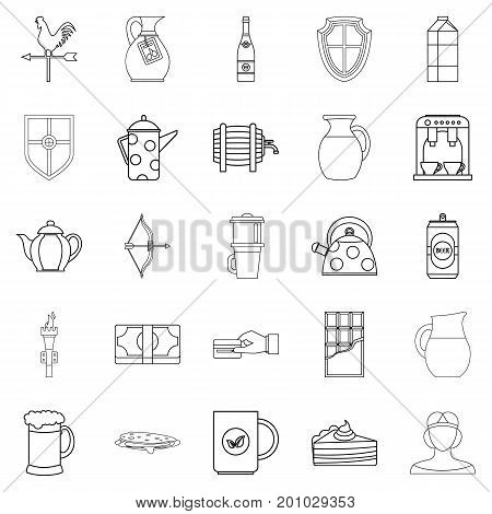 English tea icons set. Outline set of 25 english tea vector icons for web isolated on white background