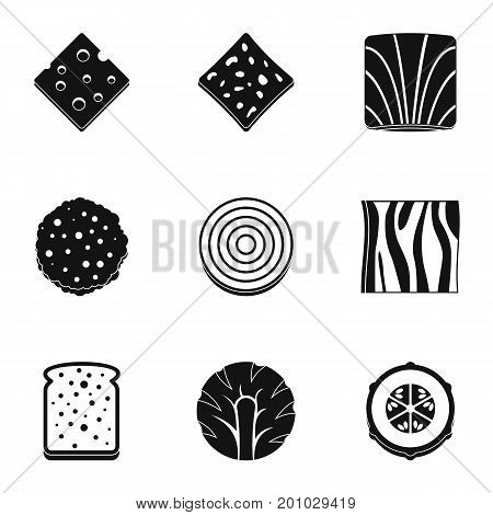 Slice of vegetables icon set. Simple set of 9 slice of vegetables vector icons for web isolated on white background