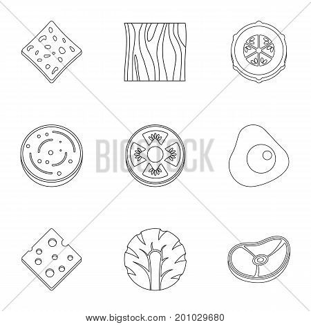 Slice product icon set. Outline set of 9 slice product vector icons for web isolated on white background