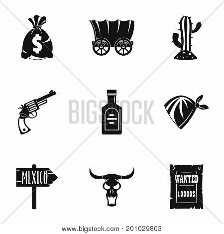 Wild west icon set. Simple set of 9 wild west vector icons for web isolated on white background