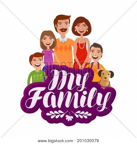 Happy family, banner. Parents and children. Cartoon vector illustration isolated on white background