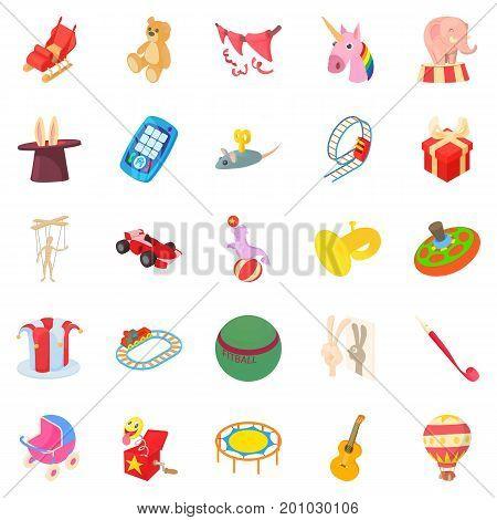 Entertainment for kid icons set. Cartoon set of 25 entertainment for kid vector icons for web isolated on white background