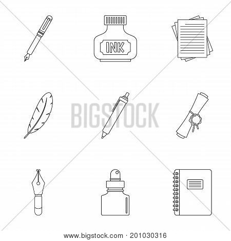 Pen icon set. Outline set of 9 pen vector icons for web isolated on white background