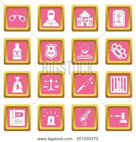 Crime and punishment icons set in pink color isolated vector illustration for web and any design