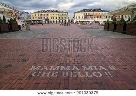 ZAMOSC POLAND - July 26 2017: Zamosc - Renaissance city in Central Europe. Market Square in Zamosc city center