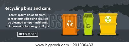 Recycling bins and cans banner horizontal concept. Flat illustration of recycling bins and cans banner horizontal vector concept for web