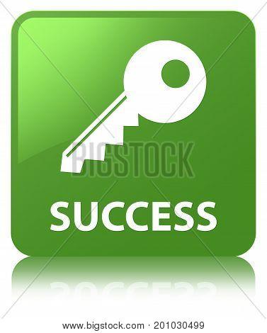 Success (key Icon) Soft Green Square Button