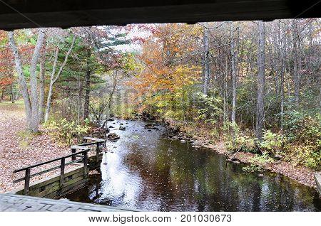Eightmile River flowing through Devil's Hopyard State Park