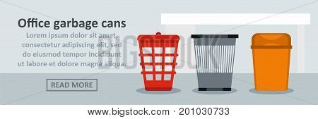 Office garbage cans banner horizontal concept. Flat illustration of office garbage cans banner horizontal vector concept for web