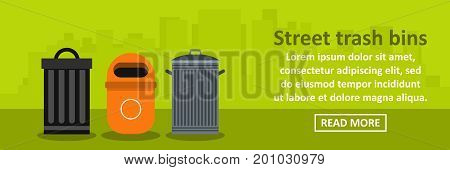Street trash bins banner horizontal concept. Flat illustration of street trash bins banner horizontal vector concept for web