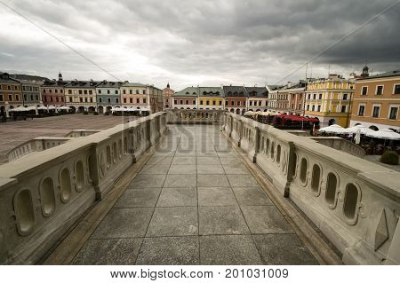 Zamosc - Renaissance city in Central Europe. Market Square in Zamosc city center