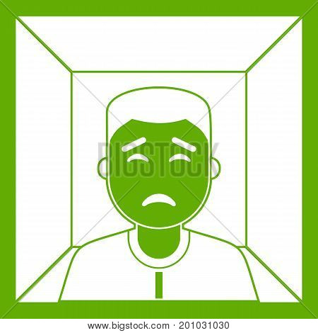 Man icon white isolated on green background. Vector illustration