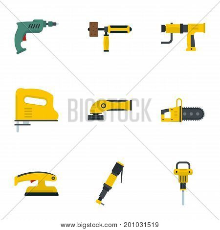 Power tool icon set. Flat set of 9 power tool vector icons for web isolated on white background