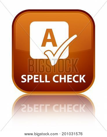 Spell Check Special Brown Square Button
