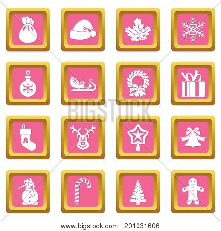 Christmas icons set in pink color isolated vector illustration for web and any design