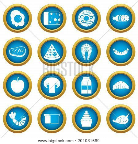 Food icons blue circle set isolated on white for digital marketing