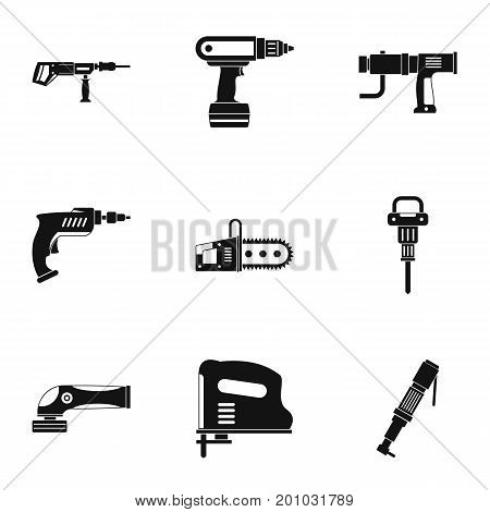 Electric tool icon set. Simple set of 9 electric tool vector icons for web isolated on white background