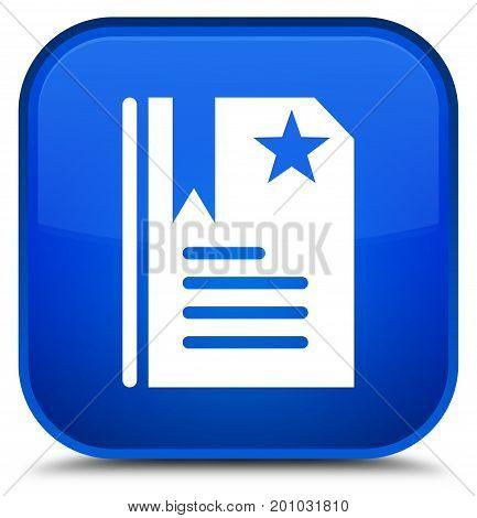 Bookmark Icon Special Blue Square Button