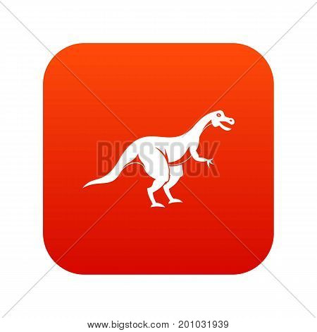 Theropod dinosaur icon digital red for any design isolated on white vector illustration