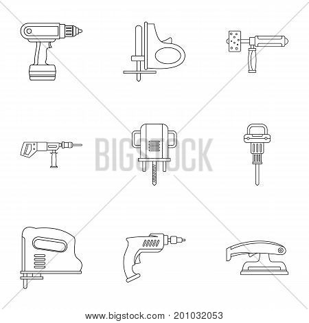 House electric tool icon set. Outline set of 9 house electric tool vector icons for web isolated on white background